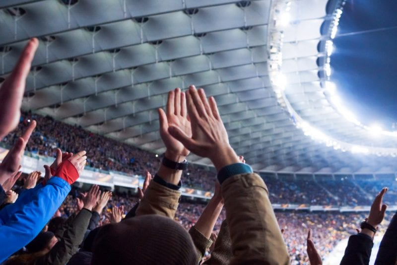 Football fans in a stadium